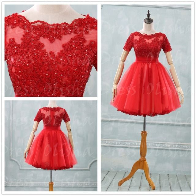 2016 New Fashion Elegant Lace A-Line Short Sleeve High Neck Mini-Length Homecoming Dresses Color&Size Customize vestido de festa