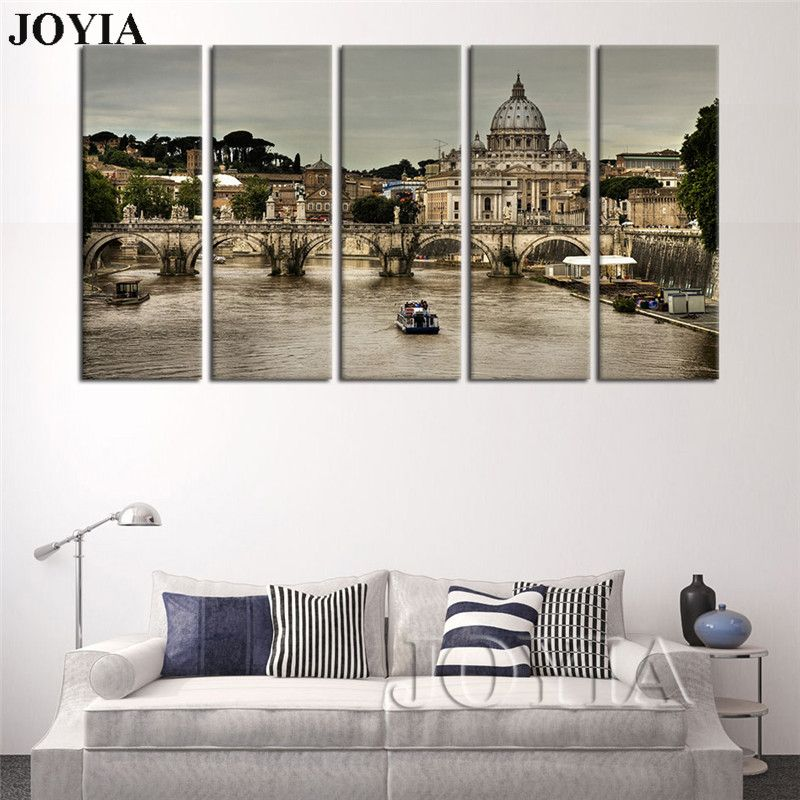 Large Wall Pictures Rome Italy Landscape Decorative Painting St Peter's Cathedral Canvas Art Print Gray Drawing 5 Piece No Frame