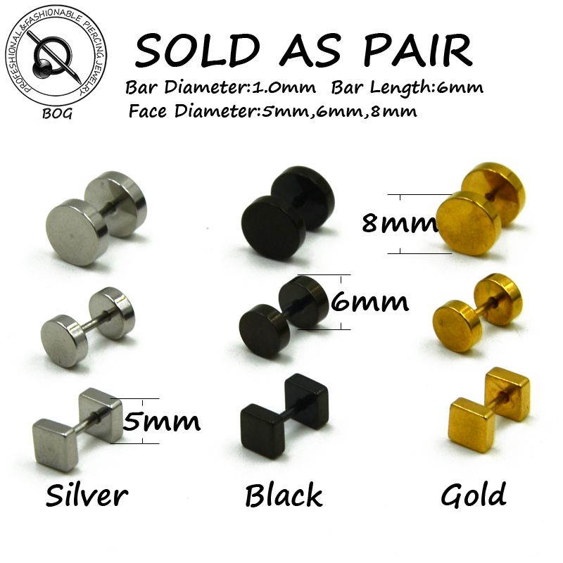 BOG-Pair 316L Surgical Steel Ear Studs Earrings Cheater Faux Fake Ear Tunnel Plugs Gauges Body Piercing Jewelry  18g Gold Black