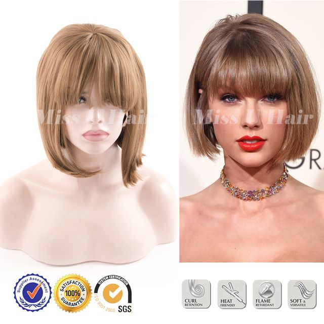 Taylor Swift synthetic lace front wig blonde with bang celebrity bob cut wigs Kanekalon wig sintetica