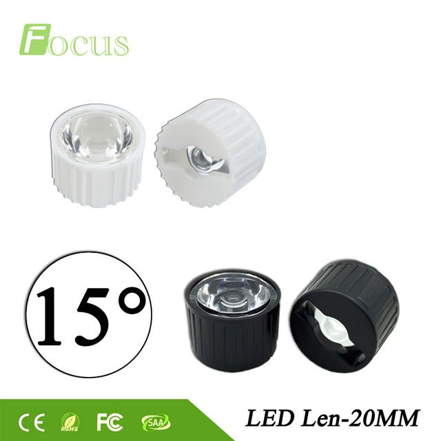 50pcs/lot 20mm 15 degrees LED Lens With Black or White Holder For 1W 3W 5W High Power LED Lamp Light