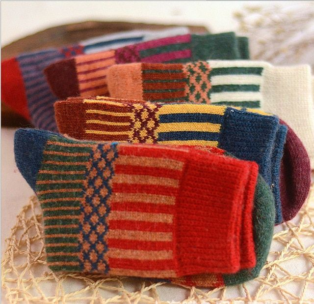 10Pairs/Lot stripe women socks wool socks new Harajuku warm winter socks women