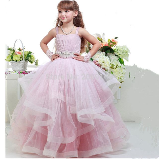Pink Cute Beaded Girls Pageant Dresses Appliques Spaghetti Straps Backless Organza Princess Party Gowns for Girls 2017 New