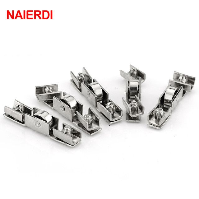 NAIERDI 10pcs NED-7220 Glass Sliding Door Roller H Shape Wheel Diameter 10mm Caster Sliding Doors Wheel For Furniture Hardware