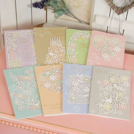 8pcs/lot High End Caving Hollow Elegant Pearly Lustre Blessing Card Mixed Birthday Day Greeting Cards For Merry Christmas Wz