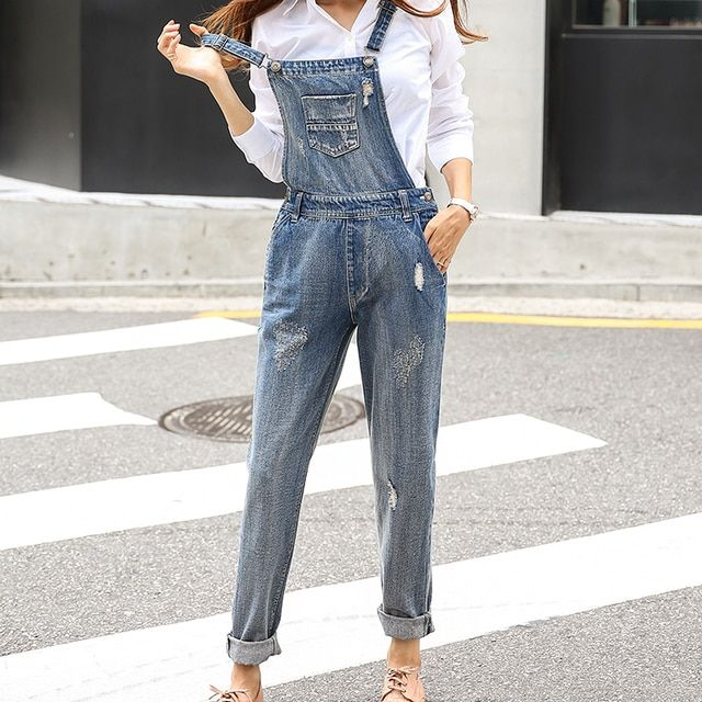 2016 Rompers Womens Jumpsuit Fashion Overalls Jeans Female Playsuit Lady Straight Trousers Denim Overalls Women