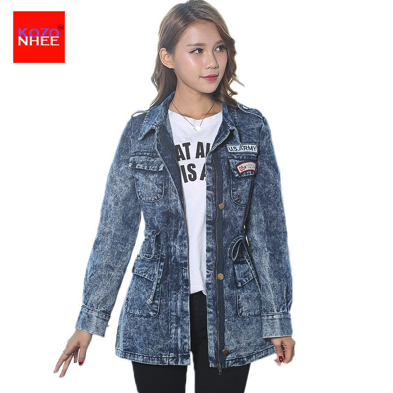 Snowflake Denim jacket Women zipper Elastic Waist female Jean jacket long Coat Large size spring jackets for women