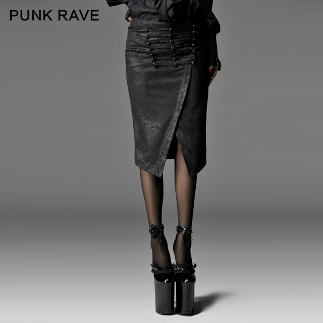 Punk Rave Punk Style Long Skirt Black Sexy Faldas Saias Q-197