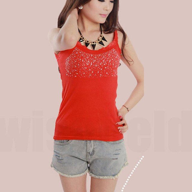 Vest Shirt Lace Sleeveless Sexy Fashion Women Elegant Collar Bling Tank Tops White/Black/Gray/Red/Pink ( Free Shipping )