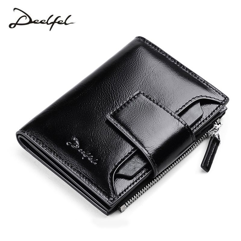 DEELFEL Genuine Leather Men Wallets Short Coin Purse Small Vintage Wallet Cowhide Leather Card Holder Pocket Purse Men Wallets