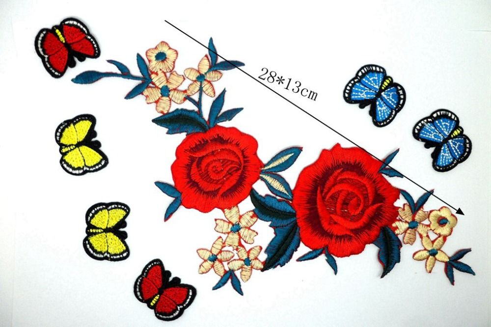 MIX7 Embroidery Iron On patches iron butterflys red flower for clothing costura Badges applique parches ropa patch for clothes