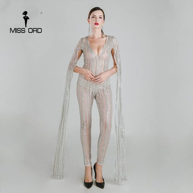 Missord 2018 Sexy Deep-V cut out long sleeve glitter  jumpsuit  FT4682