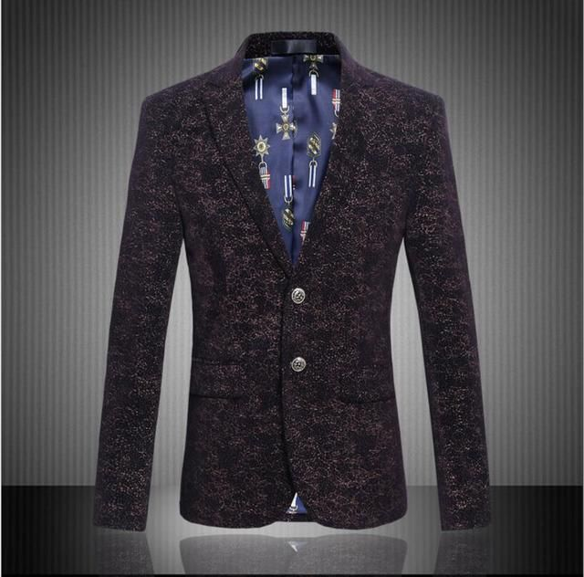 2017 new arrival blazer Men's velvet boutique wholesale autumn spring high quality suit slim flower jacket plus size M-6XL 804