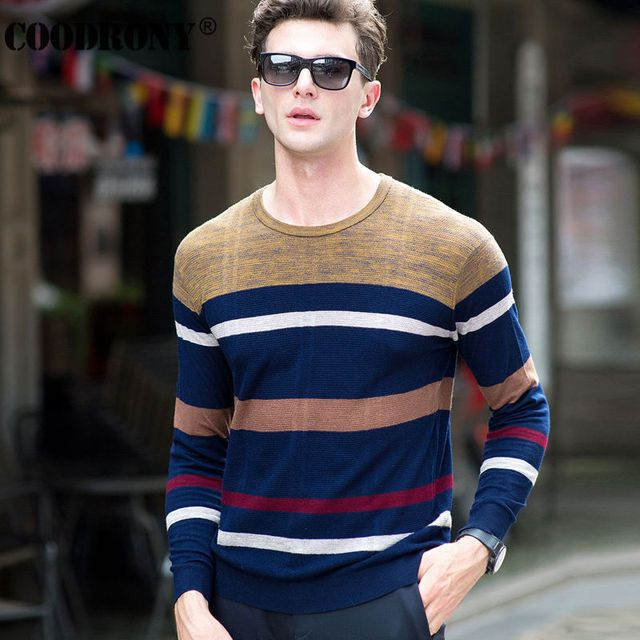 High Quality 100% Real Merino Wool Sweater Men Brand Clothing Knitted Cashmere Sweaters Fashion Striped O-Neck Pullover Men 6323