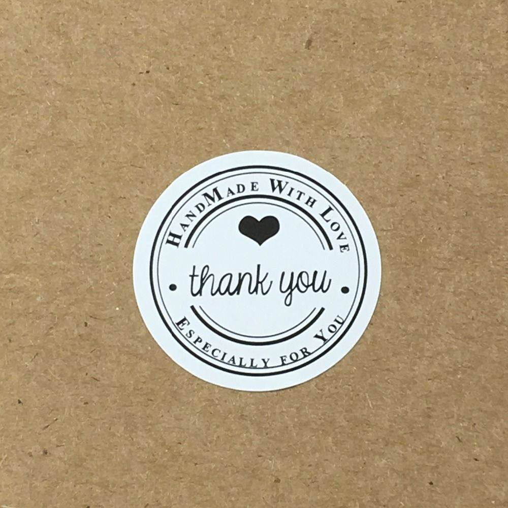 500PCS/Lot 3cm Round THANK YOU Labels White Stickers Handmade With love Stickers Labels Paper Scrapbook Seal Adhesive Label