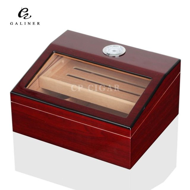 GALINER Humidor High Gloss Spanish Cedar Wood Cigar Humidor Box with Humidifier Hygrometer