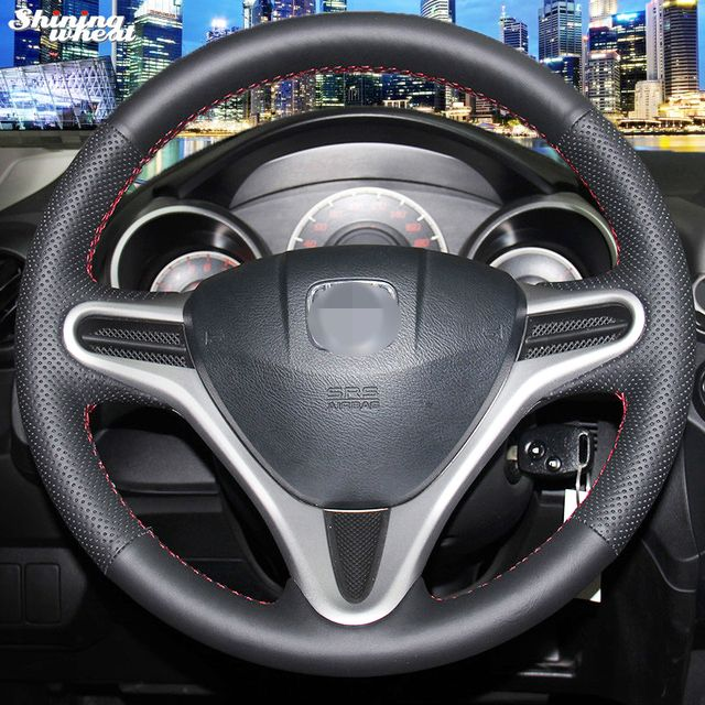 Shining wheat Hand-stitched Black Leather Steering Wheel Cover for Honda Fit City