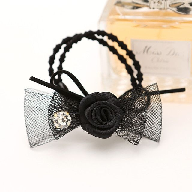 Double Bowknot Wire Mesh roses rhinestone bow hair rubber band rope accessories hair band women's scrunchy 3129