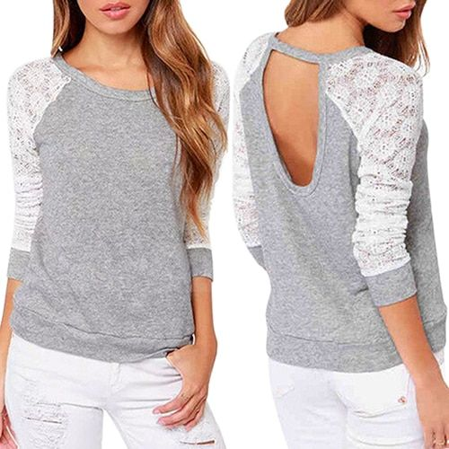 2016 New arrival! Women's Long Sleeve Sexy Lace Backless Embroidery Knitted Tops Pullover