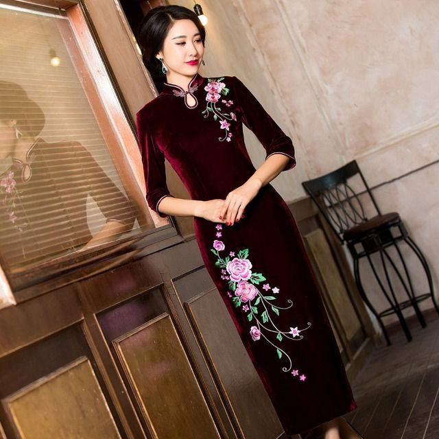 Burgundy Charming Traditional Chinese Women's  velvet Cheongsam long half sleeve embroidered Evening Dress Qipao Dress