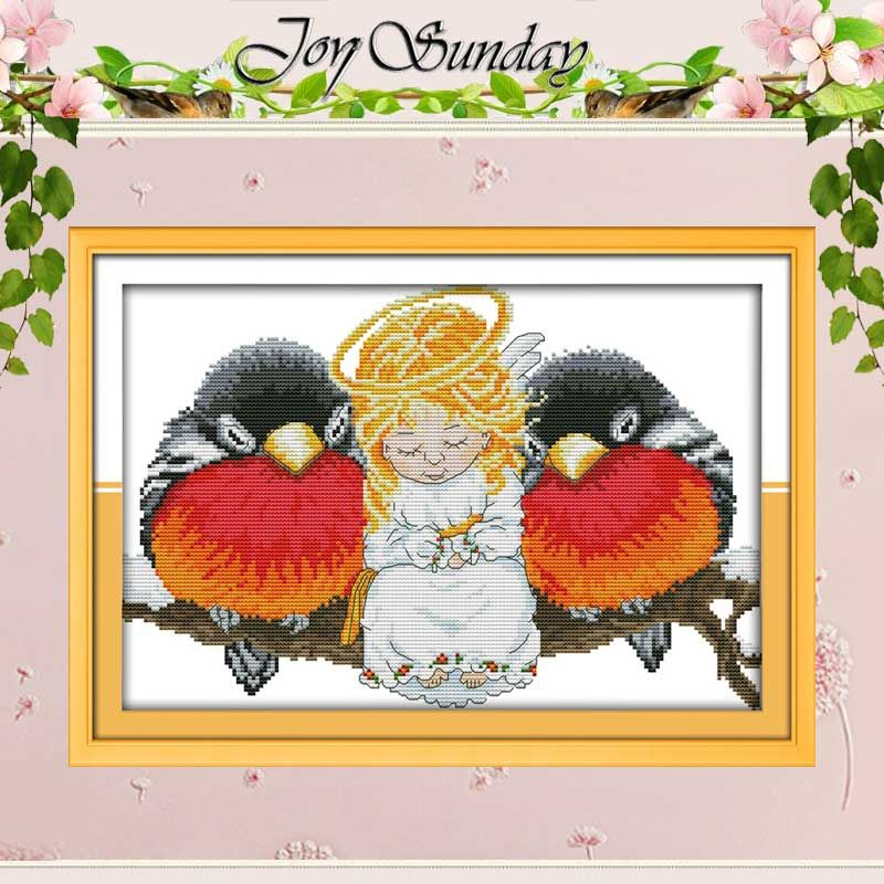 Angel and Birds Counted Cross Stitch Handmade 11CT 14CT Cross Stitch Cartoon Cotton Cross Stitch Kits Embroidery for Needlework