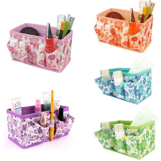 Organizer box makeup organizers Cosmetic Storage Box Women Bag Foldable Stationary Container Makeup organizador watch box basket