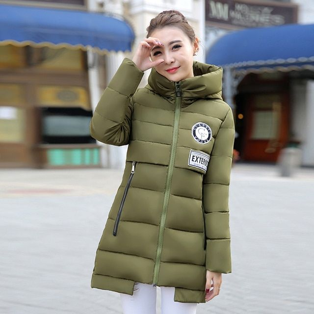 2016 New Winter jacket Woman's Outerwear Slim Hooded Down Jacket female fur collar thickening Warm jacket Coat