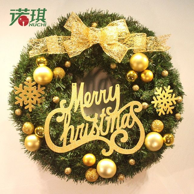 NU CHI Christmas Wreath Pine Needles Christmas Decoration For Home Party Home Wall Decorations Door Wreath
