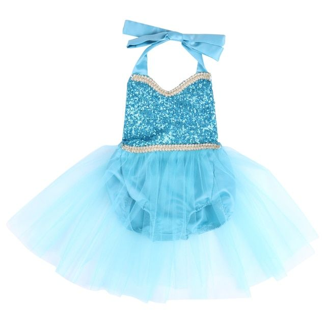 Baby Girls Princess Clothes Sequins Blue Halter Sleeveless Backless Baby Girl Grow Playsuit Sunsuit Outfits