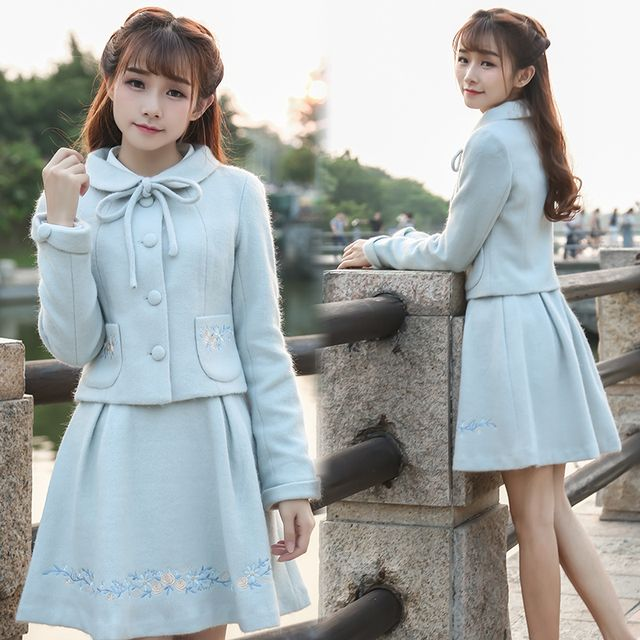 2016 Autumn Suit Women Clothing set Vintage Retro Embroidery Long Sleeve Jacket Coat+Skirt
