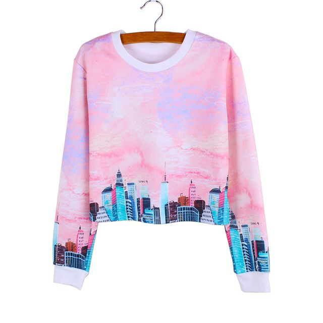 2016 Novelty Modern City print girls cropped sweatshirts casual women clothing Autumn fashion Harajuku style tracksuit wholesale