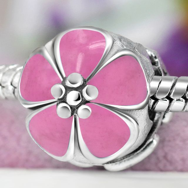 Silver Plated Bead Charm Enamel Cherry Blossom Flower Clip Safety Stopper Beads Fit pandora Bracelet Bangle DIY Jewelry