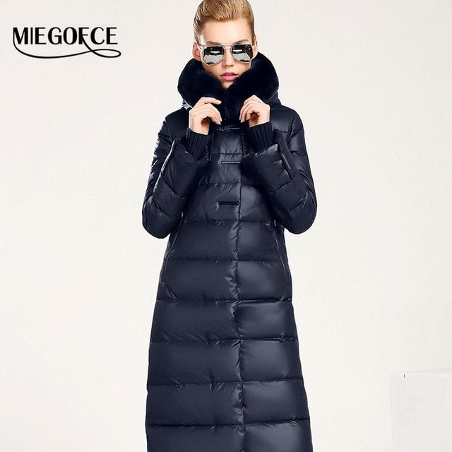 Women Coat Jacket Medium Length Woman Parka With A Rabbit Fur Winter Thick Coat Women MIEGOFCE 2016 New Winter Collection Hot