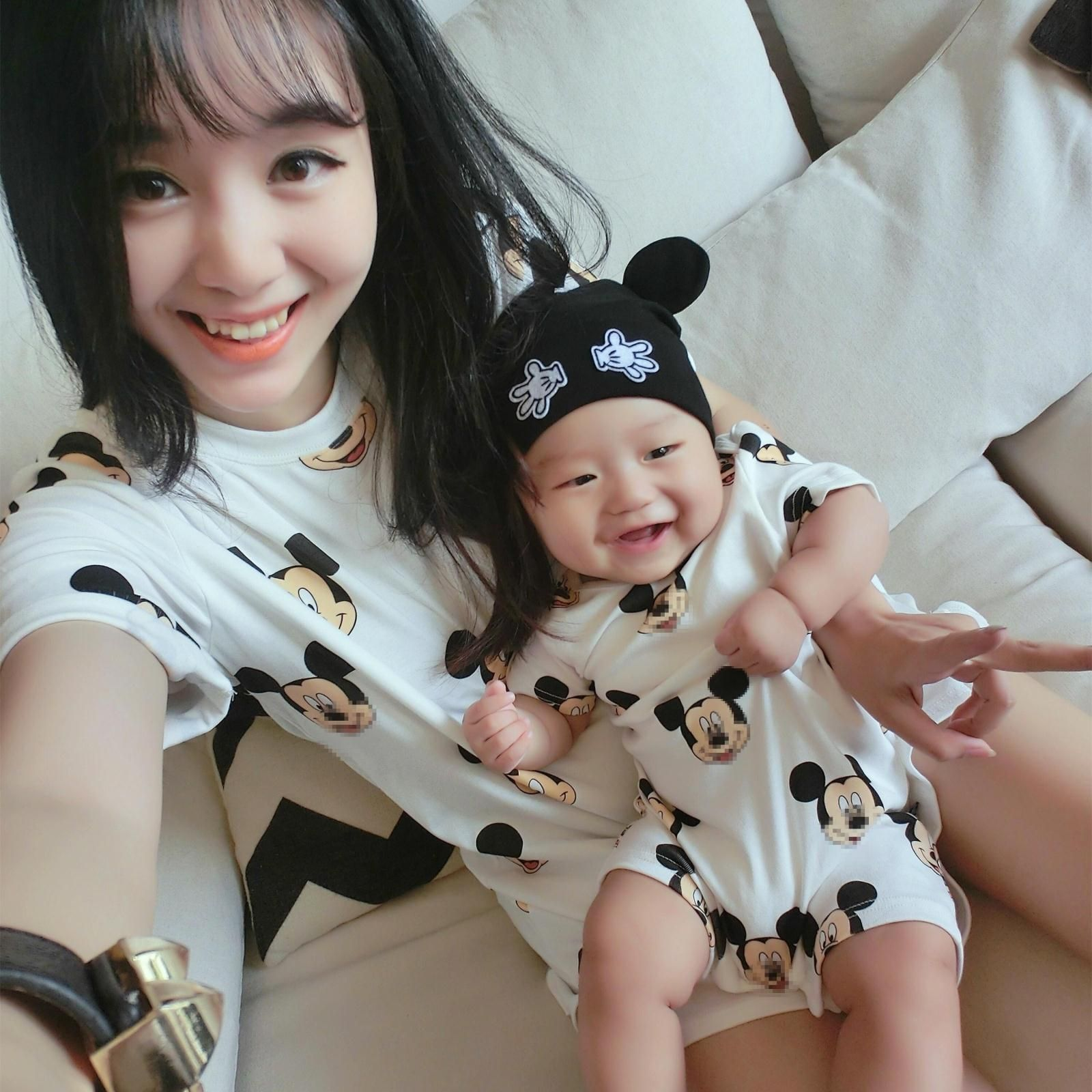 Family Matching Outfit Short Casual Cotton Character T-Shirts Mother Kids Mommy Baby and Mon Dad Son Clothes Mickey Family Shirt
