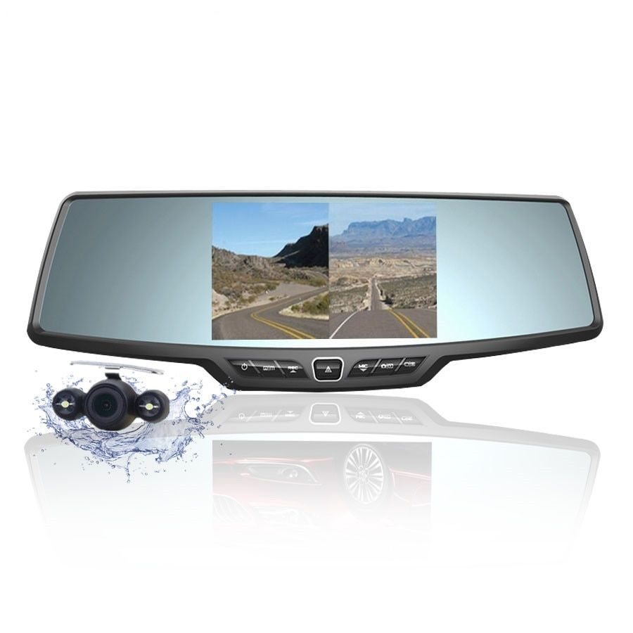 Fonwoon Car Camera Recorder Full HD 1080p Rearview Mirror Camera LCD Night Vision Car DVR Dual Lens Parking Mirror DVR Dash Cam