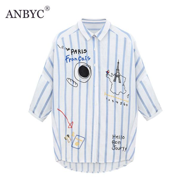Anbyc 2016 autumn new striped shirt female loose large plus size women's short-sleeved shirt blouse
