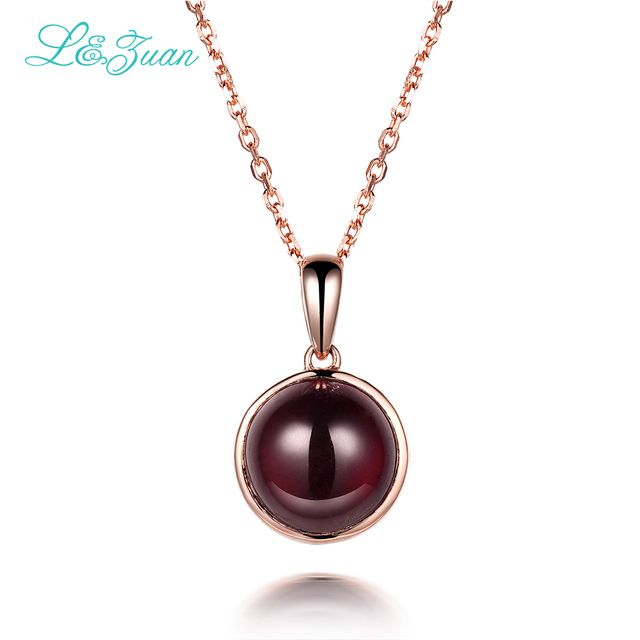 l&zuan 925 Sterling Silver Natural 5.41ct Garnet Red Stone Necklace & Pendant For Woman  With Silver Chain Christmas Gift