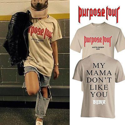 Justin Bieber Purpose Tour Shirt Mens Casual Loose Short Sleeve T-shirt Tops Size S-XXL