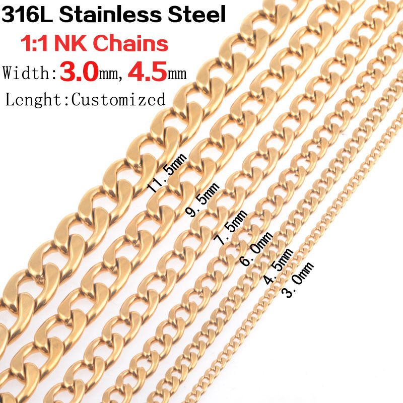 Women&men new fashion 3.0mm/4.5mm wide Gold 316L stainless steel 1:1 NK chains necklaces vintage jewelry wholesale 10pcs/lot