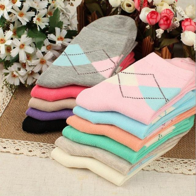 Hot Sale Fashion Spring autumn winter Warm Women Solid Color Short Sock suit For 34-43 Rhombus wild Cute socks Free Shipping