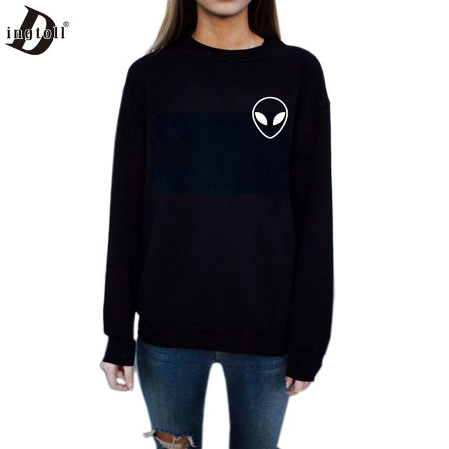 Dingtoll New Casual Women Alien Sweatshirts Lady Harajuku Long Sleeve Street Hipster ET Head Hoodies  WMH77