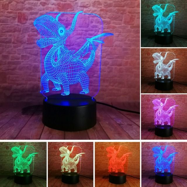 Novelty 3D Pterosaur Dinosaur LED Visual 7 Color Gradient Night Light Table Bedroom Bedside Lamp Decor Child Baby Xmas Toy Gift