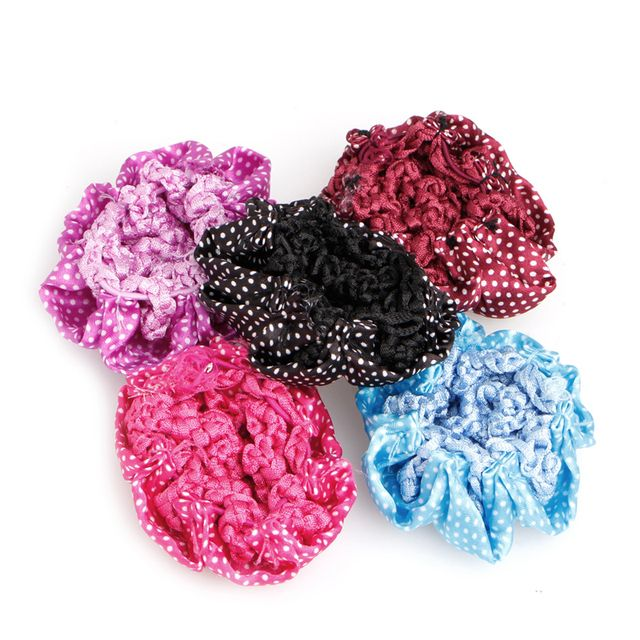 Trendy 5Pcs Women Bun Cover Snood Hair Net Ballet Dance Skating Crochet Decor