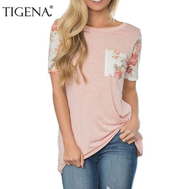 TIGENA Floral Print Striped T Shirt Women 2018 Summer Fashion Short Sleeve T-shirt Women Loose Pink Tshirt Tops Tee Shirt Femme