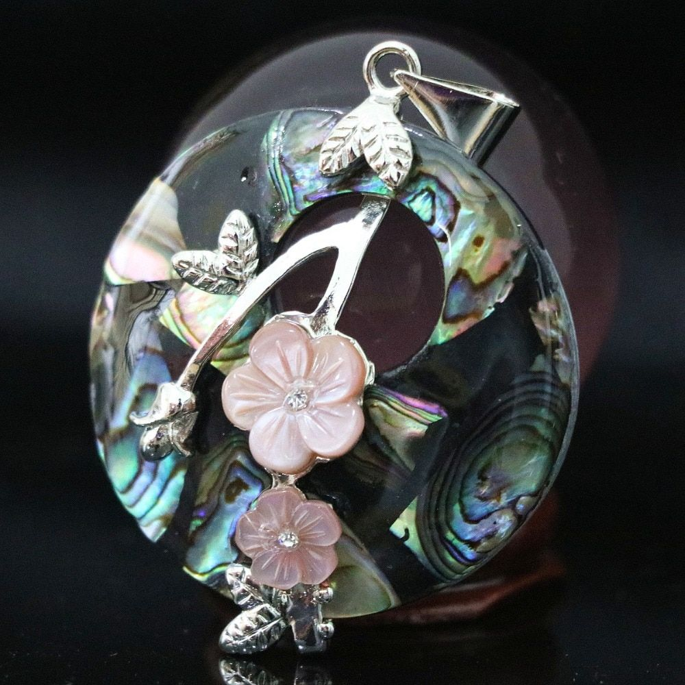 Charms natural blue abalone shell 40mm round carved pink flower fit necklace pendant accessory B1120