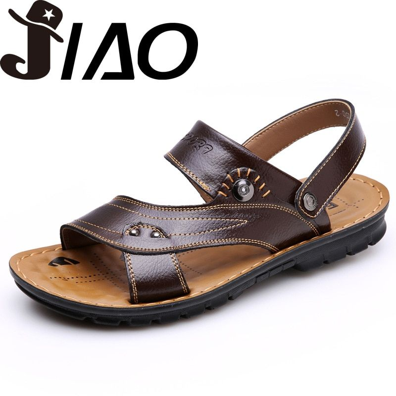EU38-44 Men Sandals Genuine Leather Fashion Summer Shoes Men Slippers Big Size Men's Sandals New Soft Leather Shoes Men