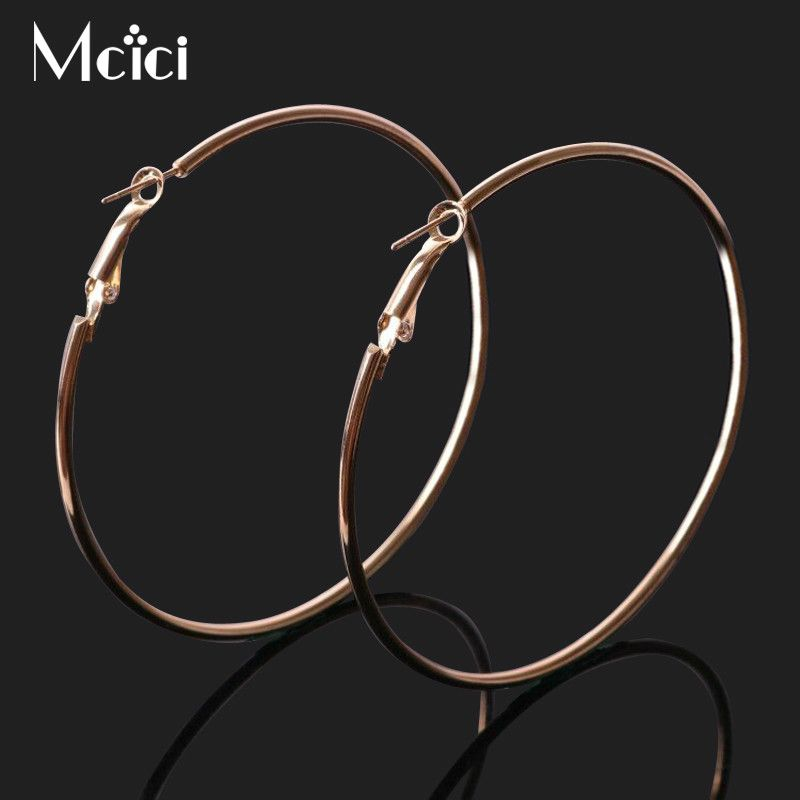 Big Circle Hoop Earrings for Women  Gold Silver Colors Simple Trendy  Small Steampunk Round Earring Brincos Jewelry Oorbellen