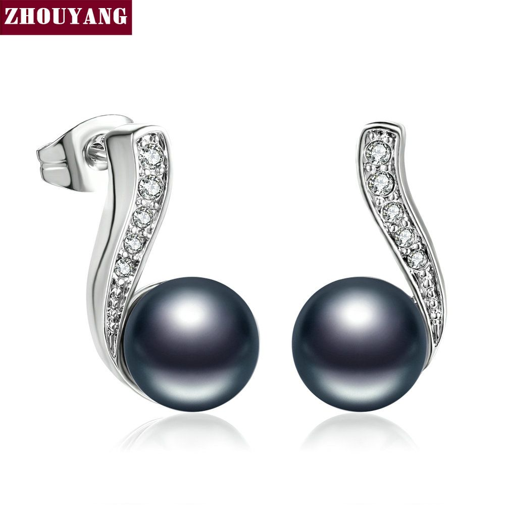 ZHOUYANG Top Quality ZYE711 Imitation Black Pearl Stud Earring Silver Color Fashion Jewelry Austrian Crystal