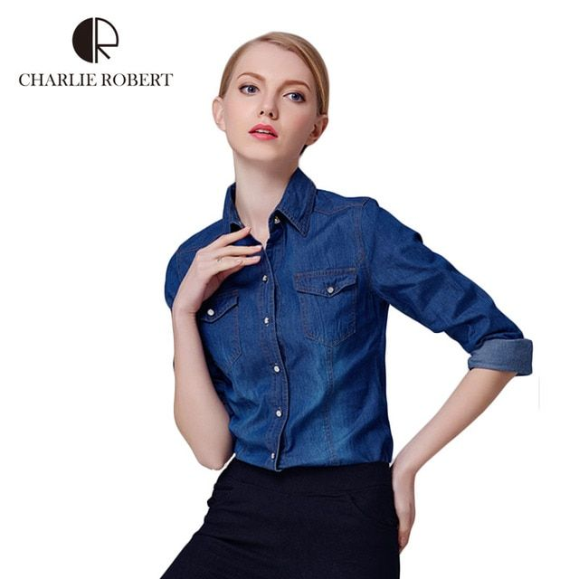 2016 New Denim Shirt Women Long Sleeve Turn-Down Collar Blouse Women Jeans Female Blue Jean Shirt Fashion Female Clothes WE249