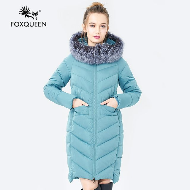 Foxqueen 2017 Warm Winter Fashion Women Thick Cotton Jacket Hooded Coat Parka With Silver Fox Fur Collar Free Shipping 601